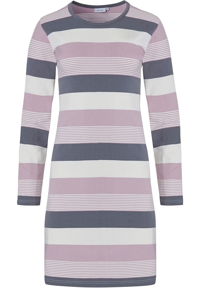 Pastunette 'mixed bold stripes' pink, grey & off-white long sleeve 95% cotton nightdress with all over stripes pattern