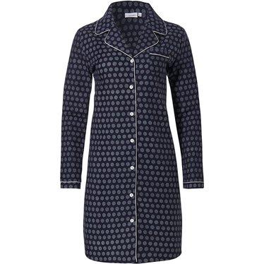 Pastunette 'classy little circles' donkerblauw katoen flanel doorknoop nachthemd voor dames met lange mouwen, reverskraag en borstzakje