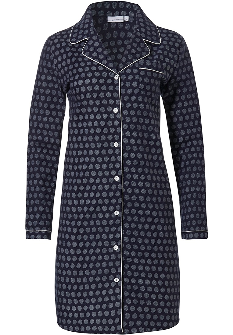 Pastunette 'classy little circles' dark blue ladies long sleeve cotton flannel, full button nightdress with revere collar and chest pocket