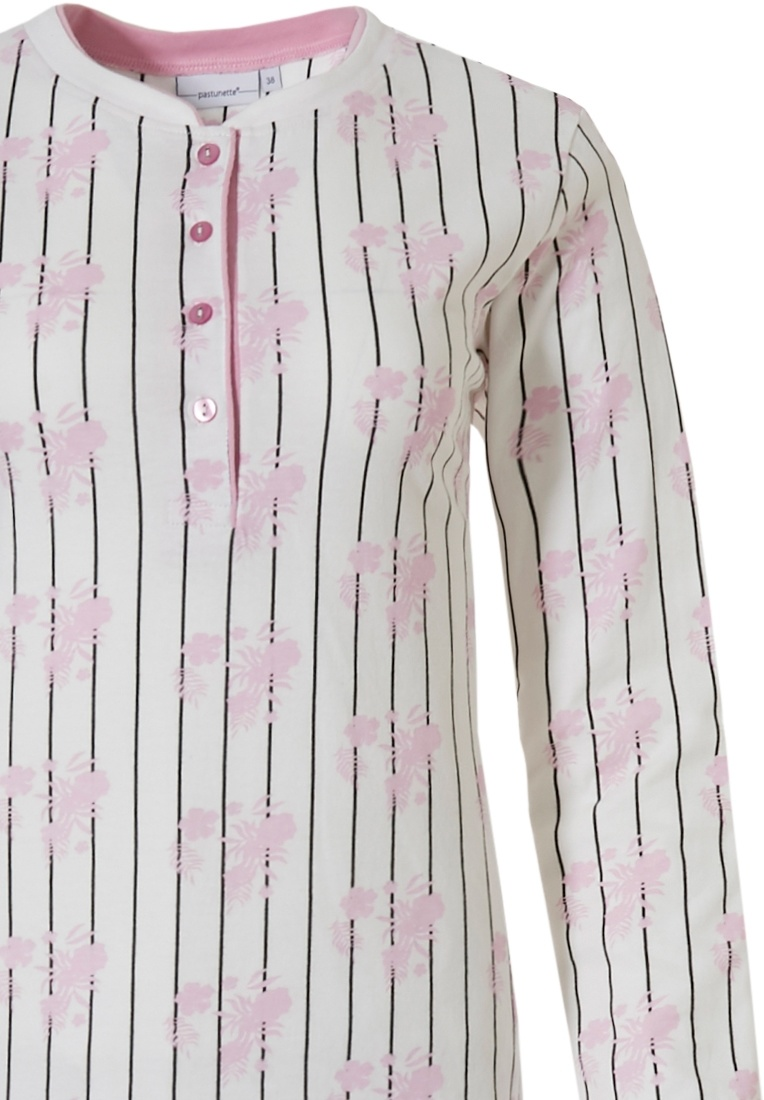 Pastunette 'femme floral stripes' snow-white & soft pink long sleeve cotton pyjama with buttons and long matching pants