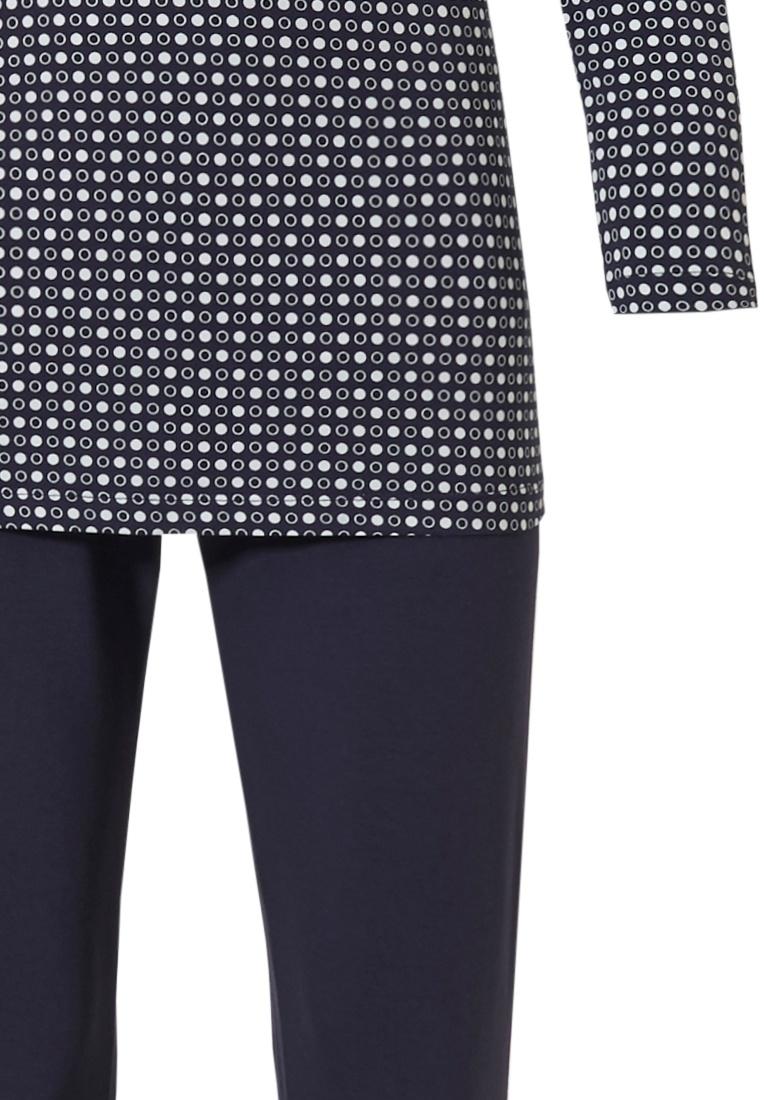 Pastunette Deluxe 'trendy micro circles' white & dark blue ladies cotton, modal & elastane long sleeve pyjama set in 'trendy micro circles' print and long dark blue pants