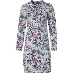 Pastunette Deluxe nachthemd met lange mouwen en knoopjes 'modern abstract line art'