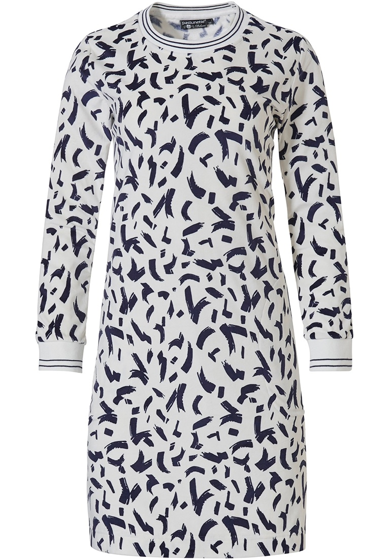 Pastunette Deluxe 'dashes of fashion' snow white & dark blue long sleeve luxury, soft velvet, lounge dress with cuffs and modern 'dashes of fashion' print