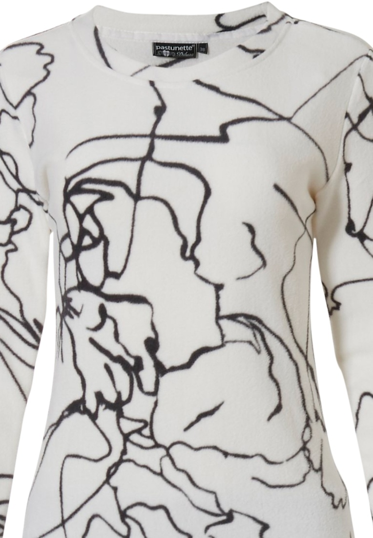Pastunette Deluxe 'line art' pure white & black polar fleece comfy homesuit with a modern all over 'line art' pattern and long black fleece pants