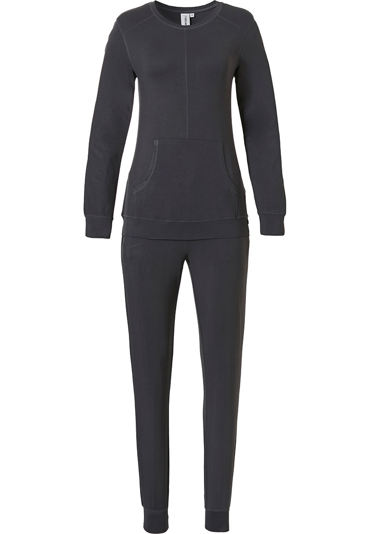 Rebelle 'chic modern' dark grey long sleeve lounge style pyjama with trendy 'chic modern' look and matching long cuffed pants