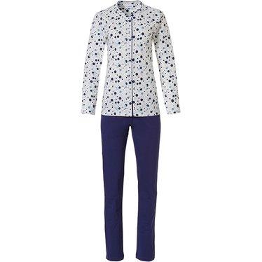 Pastunette 'groovy circles' wit, roze & blauwe dames pyjama met lange mouwen en knoopjes met all over 'groovy circles' patroon en lange donkerblauwe broek