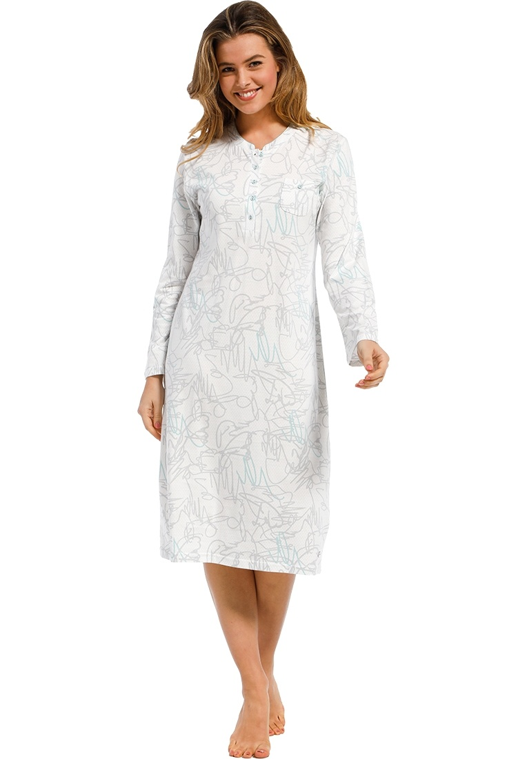 Pastunette Deluxe 'modern abstract line art' off white, grey and turquoise long sleeve cotton nightdress with buttons and all over 'modern abstract line art' print