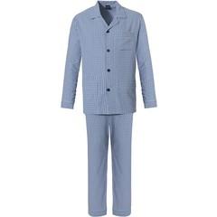 Robson ijsblauwe doorknoop geweven-katoen herenpyjama 'crosses & diamonds'