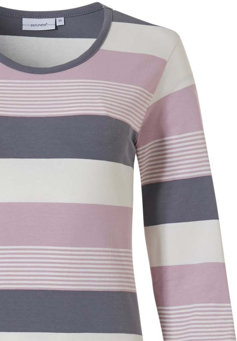 Pastunette ''mixed bold stripes' pink, grey & off-white long sleeve 95% cotton long nightdress with all over stripes pattern (125cm)