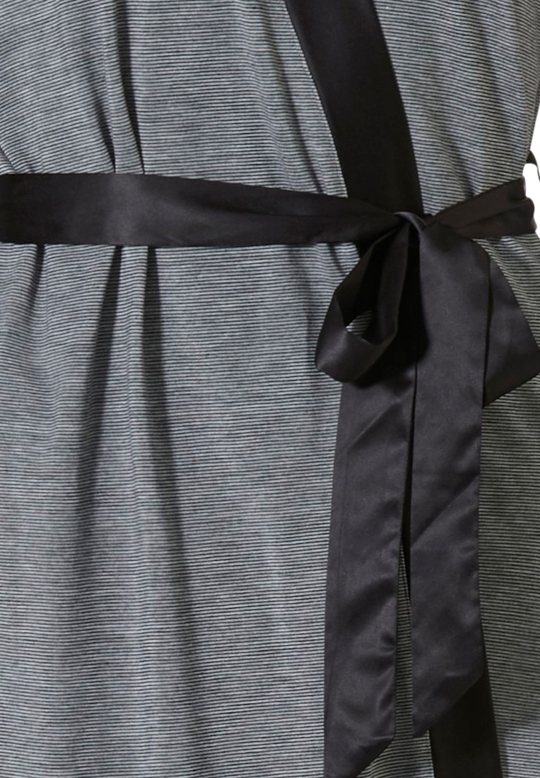 Pastunette Deluxe grey & black wrap-over robe with belt, pockets and chic 'soft as satin' black trim detailing on sleeve matching with 'soft as satin' side stripe