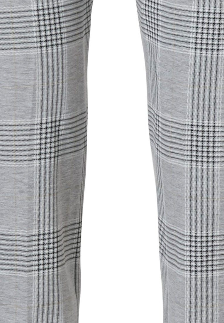 Pastunette Deluxe 'checks in style' light & dark grey cotton-polyester long pants with an all over modern 'checks in style' pattern