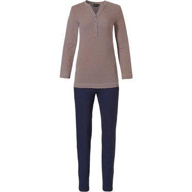 Pastunette Deluxe oranje oker, blauw-witte luxe pyjama, v-hals met knoopjes en lange mouwen in een classy all over 'geometric micro art' patroon met bijpassende lange blauwe broek