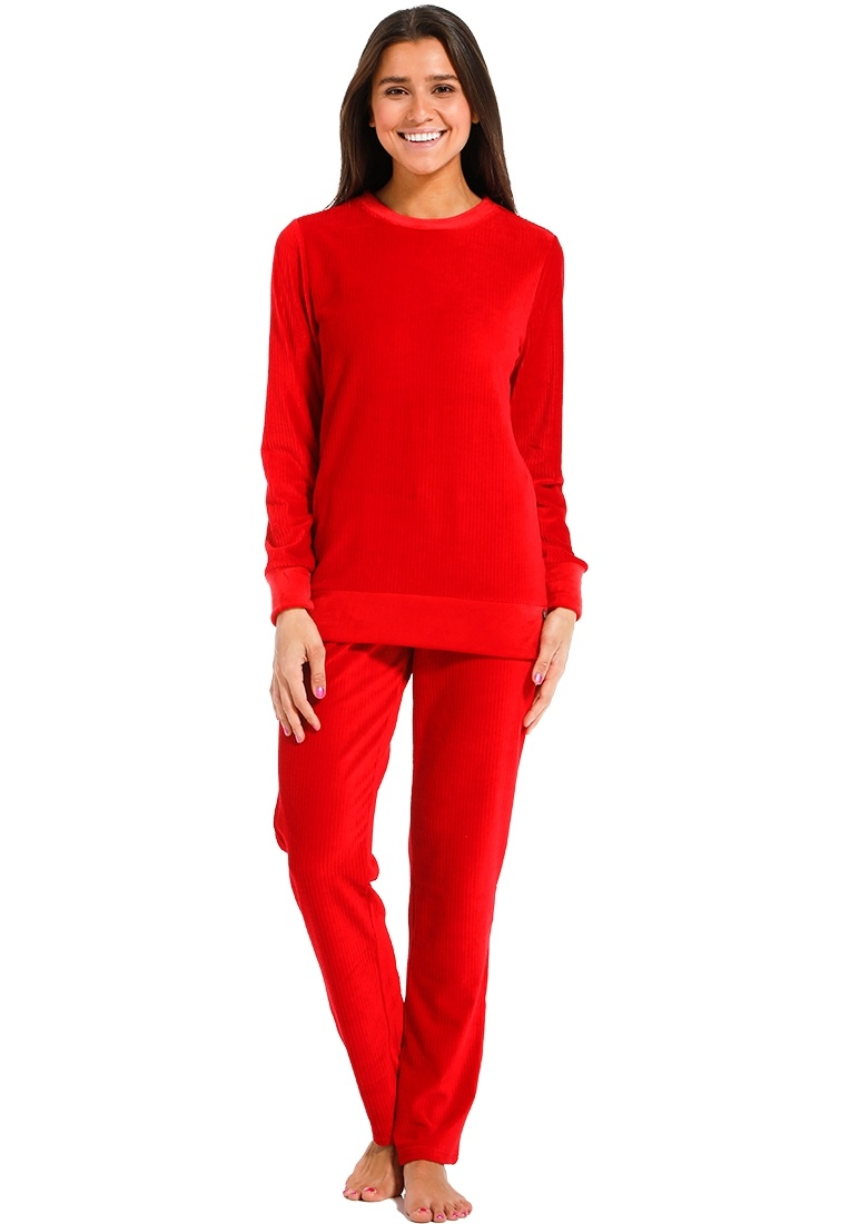 Rebelle 'ruby red lines' rich red soft velours fleece chic home-lounge suit with matching long pants and two pockets