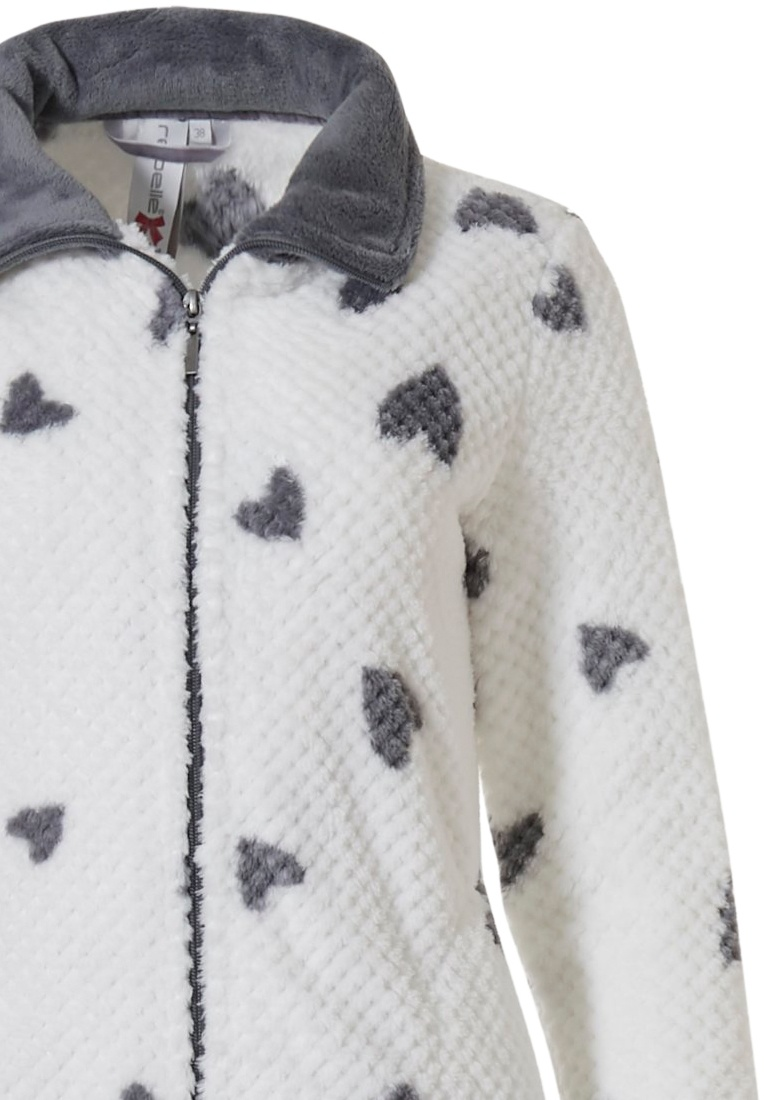 Rebelle 'chic love hearts ♥' snow white & grey ladies soft coral fleece lounge homesuit with zip, popular all over 'chic love hearts ♥' pattern and long grey fleece cuffed pants with pockets