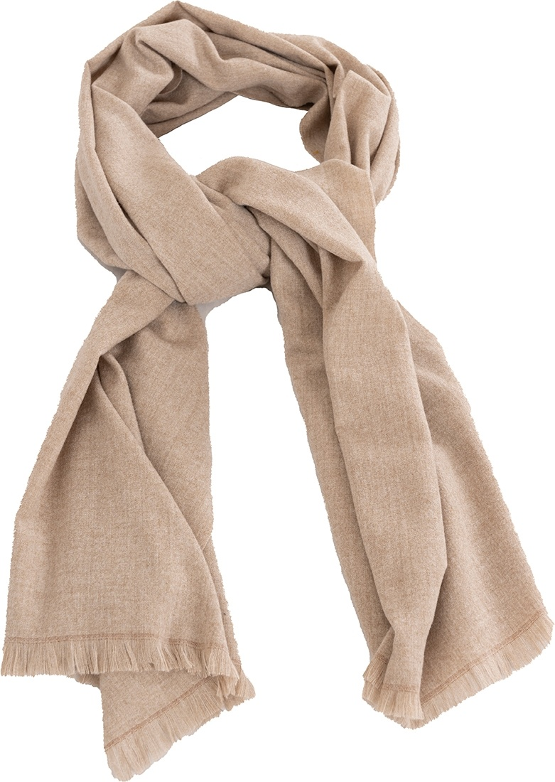 Pastunette Deluxe soft & warm sand brown neck scarf with little fringes