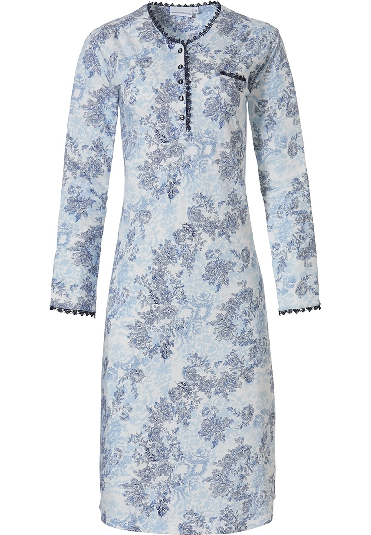 Pastunette 'vintage flower' snow-white & blue cotton - modal nightdress with buttons, chest pocket and pretty trimmings