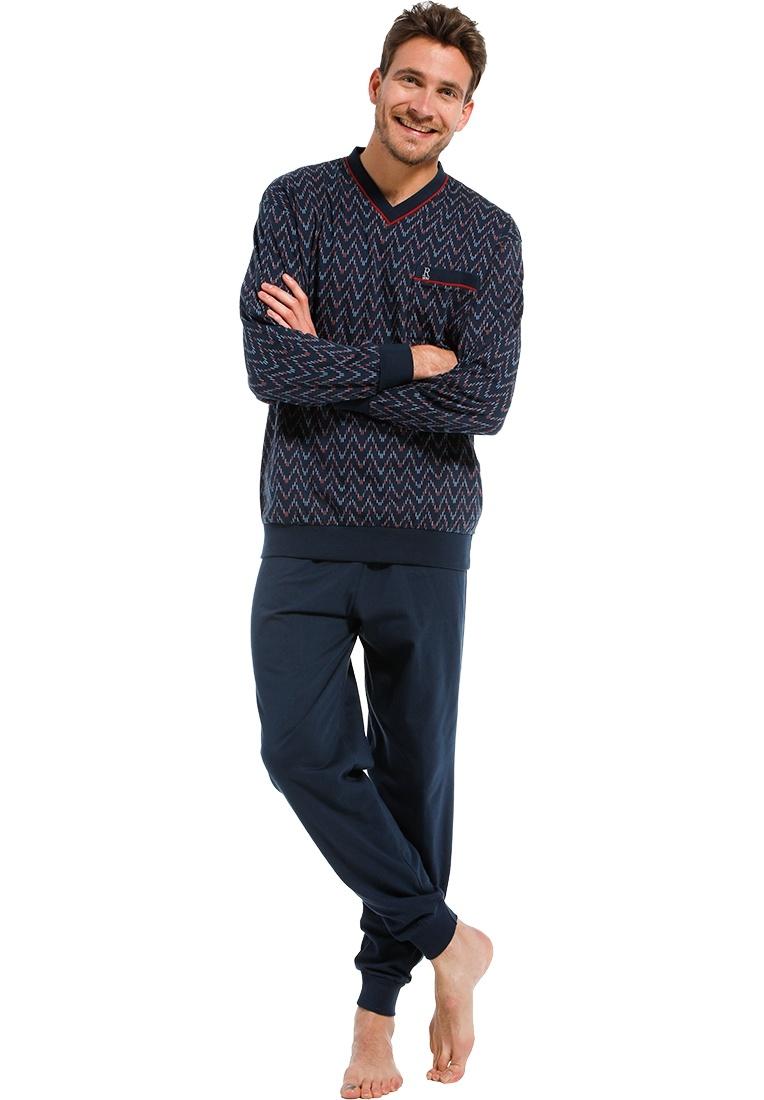 Robson 'jagged lines' dark blue & red 'v' neck long sleeve cotton pyjama with chest pocket and long dark blue cuffed pants