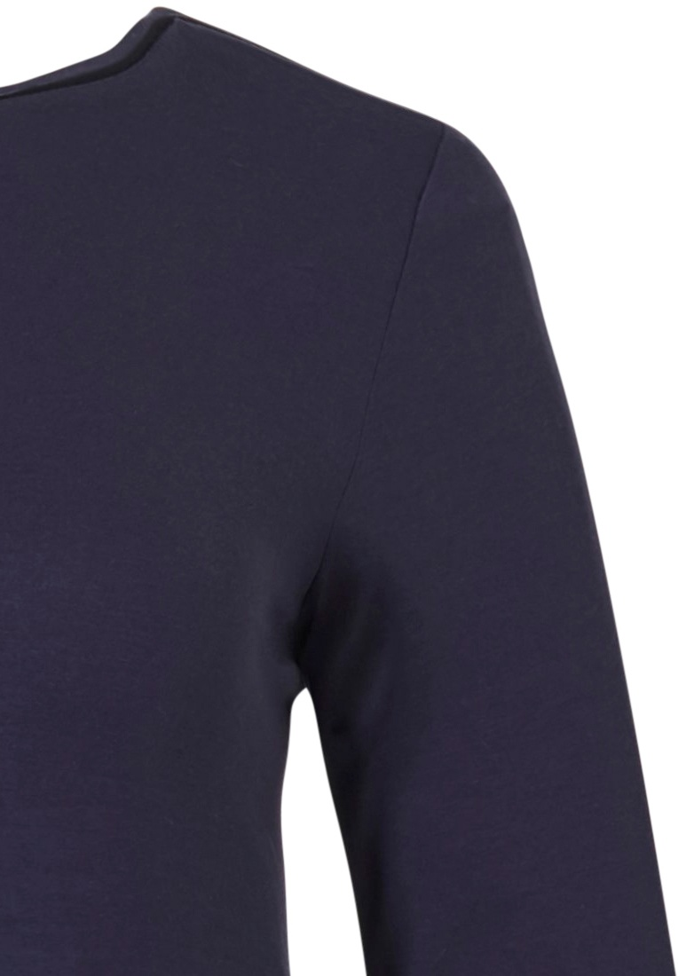 Pastunette Deluxe 'sporty fashion fusion' dark blue ladies trendy Mix & Match luxury long sleeve homewear lounge top ( with jaquard mix)