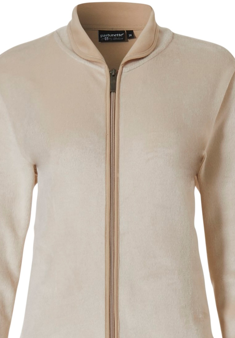Pastunette Deluxe 'home comfort' sandy brown & light brown soft homesuit with full zip, collar, little cuffs and long light brown warm pants