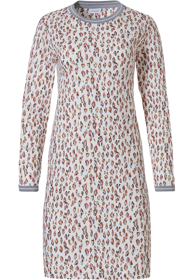 Pastunette 'animal design print' snow-white & long sleeve cotton nightdress with an all over 'animal design print' pattern