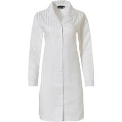 Pastunette Deluxe sneeuwwit doorknoop nachthemd 'soft as satin stripes'