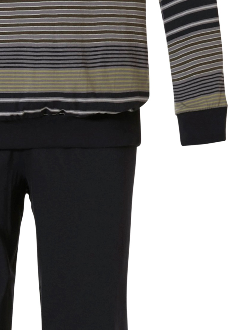 Robson 'mixed stripes' black & green mens 'v' neck long sleeve cotton striped pyjama with chest pocket and long black cuffed pants