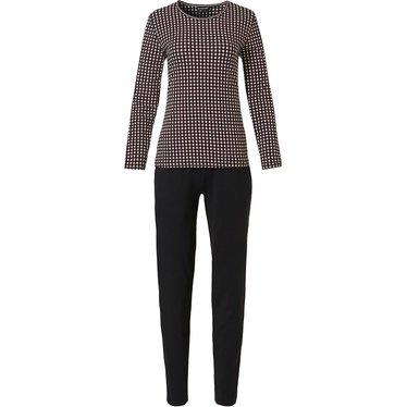 Pastunette Deluxe katoen-modal damespyjama met lange mouwen 'trendy circle lines'
