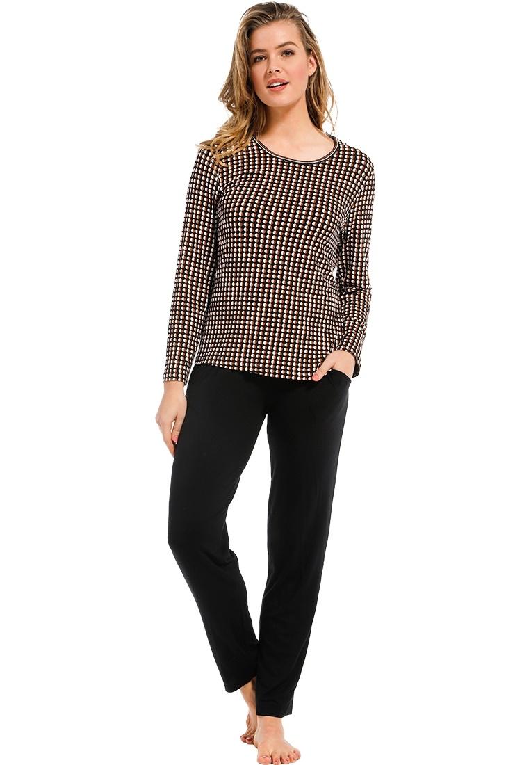Pastunette Deluxe 'trendy circle lines' dark brown beige & tawny brown long sleeve cotton-modal pyjama set with modern pattern and long dark brown pants