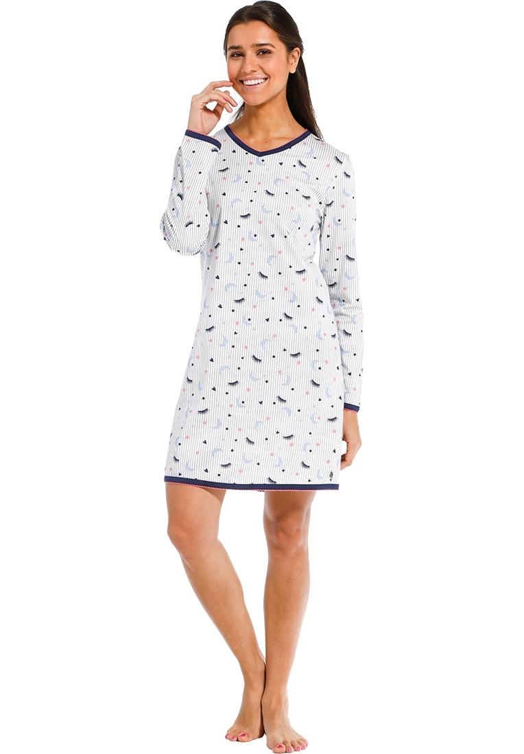 Rebelle 'stripes & glamour' pure white, dark blue & vivid pink 'v'neck stripey cotton nightdress with popular 'stripes & glamour' pattern