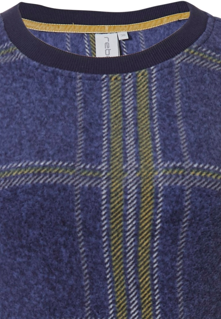Rebelle 'trendy chunky checks' dark denim blue, white & mustard yellow long sleeve fashionable fleecy home dress with cuffs and all over 'trendy chunky checks' pattern
