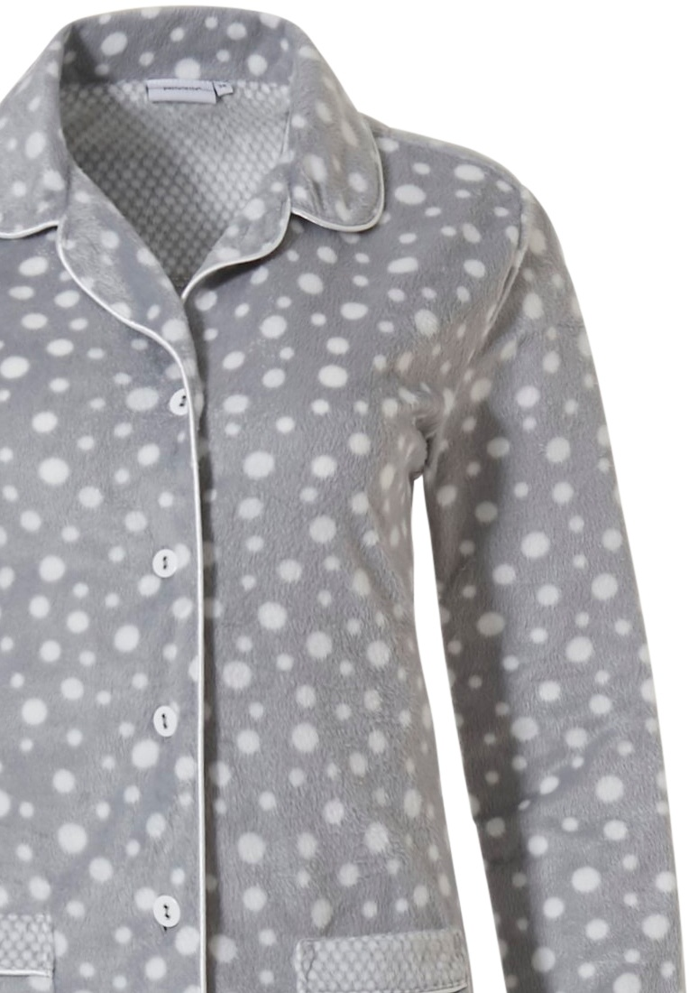 Pastunette 'fashion dashes' grey & white soft fleece, full button pyjama with collar, pockets and long matching pants