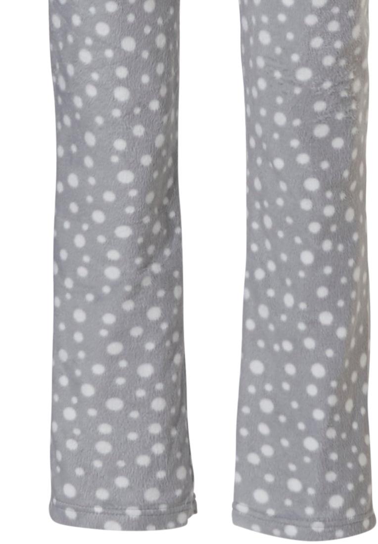 Pastunette 'fashion dashes' grijze & witte zachte fleece doorknoop pyjama met kraag, zakken en lange bijpassende broek