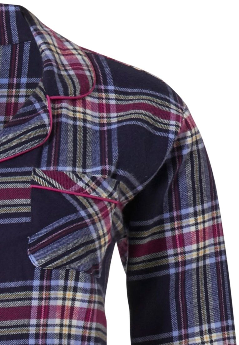Rebelle 'cool trendy checks' denim blue, white & fuchsia pink 100% cotton flannel, full button nightshirt with revere collar, pocket on chest, a handy optional turn-up sleeve