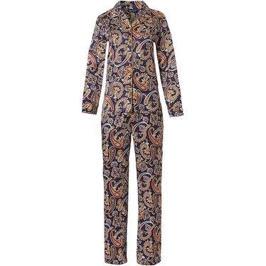 Pastunette Deluxe 'elegantly paisley' dark blue & paisley print long sleeve, full button cuddle satin luxury pyjama with revere collar, chest pocket and long matchting 'elegantly paisley' pants