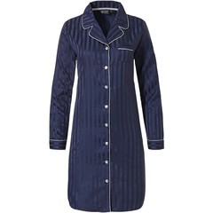 Pastunette Deluxe midnight blue full button nightdress 'soft as satin stripes'