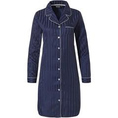 Pastunette Deluxe nachtblauw doorknoop nachthemd 'soft as satin stripes'