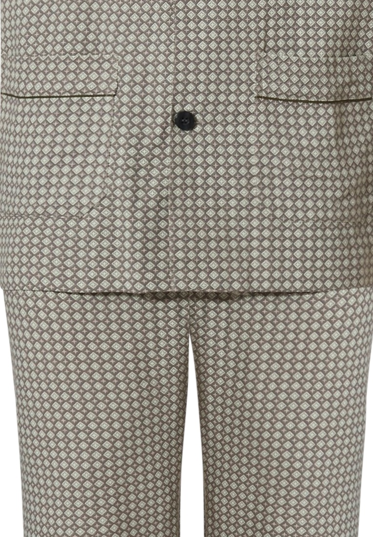 Robson 'crosses & diamonds' coyote brown, 100% woven cotton flannel, men's full button long sleeve pyjama with revere collar, chest pocket, two front pockets and long matching patterned pants with an elasticated waist and pockets