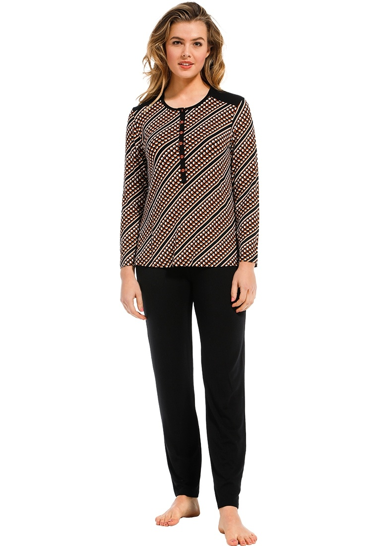 Pastunette Deluxe 'trendy diagonal circles' dark brown, beige & tawny brown long sleeve cotton-modal pyjama set with buttons, a moderm all over 'trendy diagonal circles' pattern and long dark brown cuffed pants