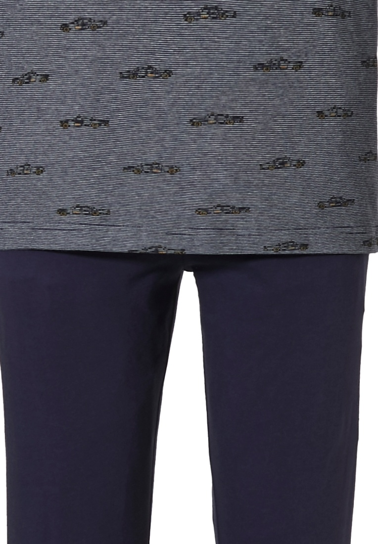 Pastunette jr 'crazy cabs' dark blue melee, yellow & dark blue 100% cotton cool, 'car crazy' 'v' neck boys pyjama set with long dark blue cuffed pants