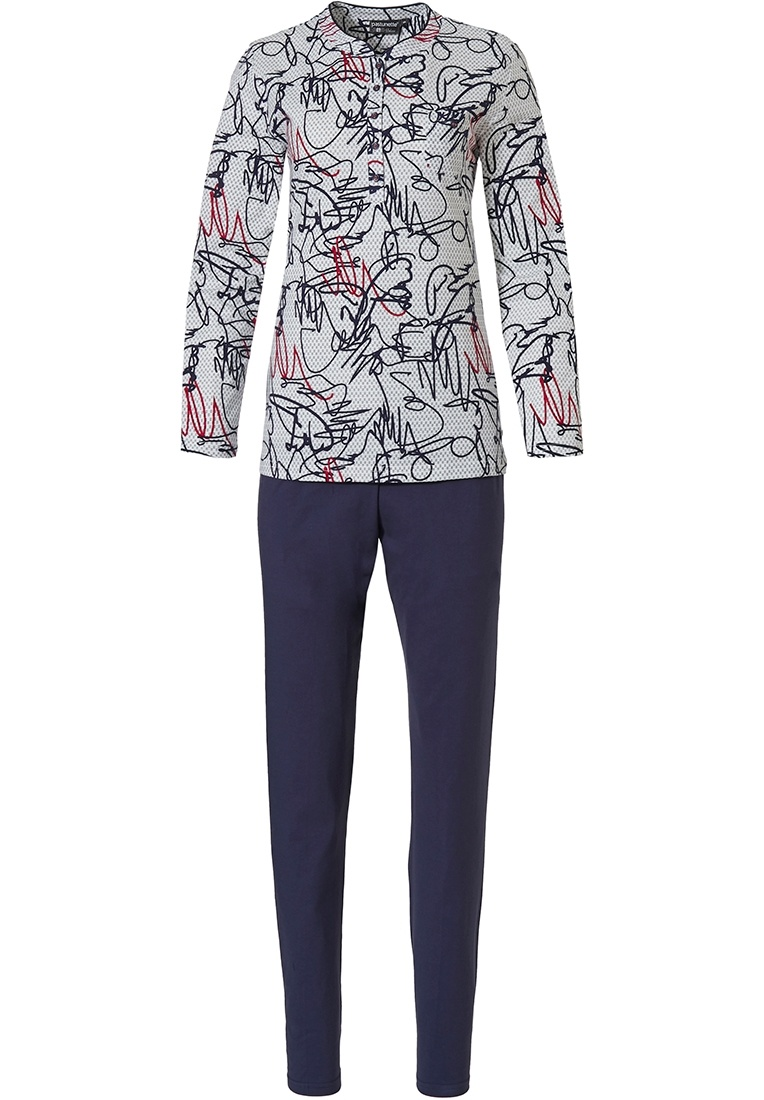 Pastunette Deluxe 'modern abstract line art' off white, red & black long sleeve cotton pyjama set with buttons an all over 'modern abstract line art' print and long dark blue pants