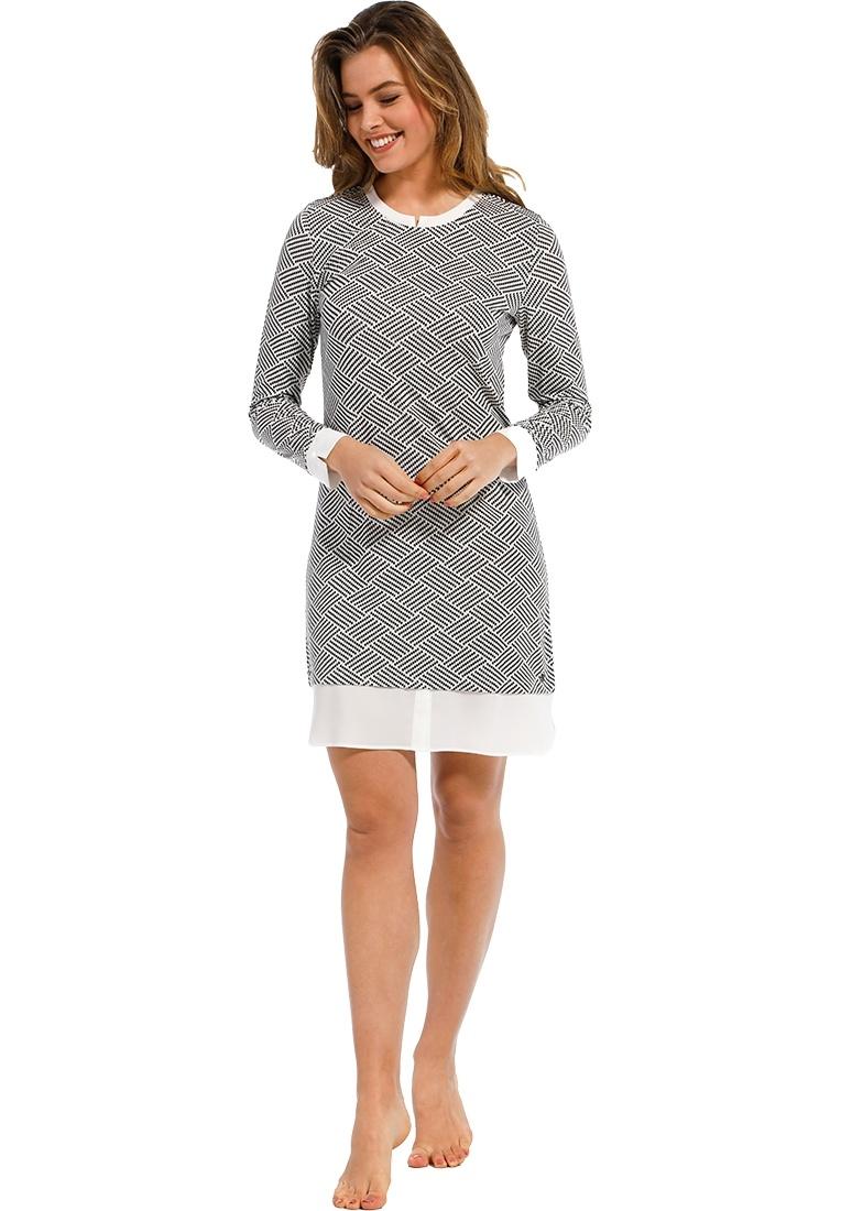 Pastunette Deluxe  'monochrome blocks of fashion' black & white trendy 95% modal nightdress with pure white trimmings and all over trendy 'monochrome blocks of fashion' pattern