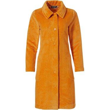 Pastunette Deluxe herringbone lines' oranje oker zachte embossed fleece doorknoop huisjas met kraag en zakken