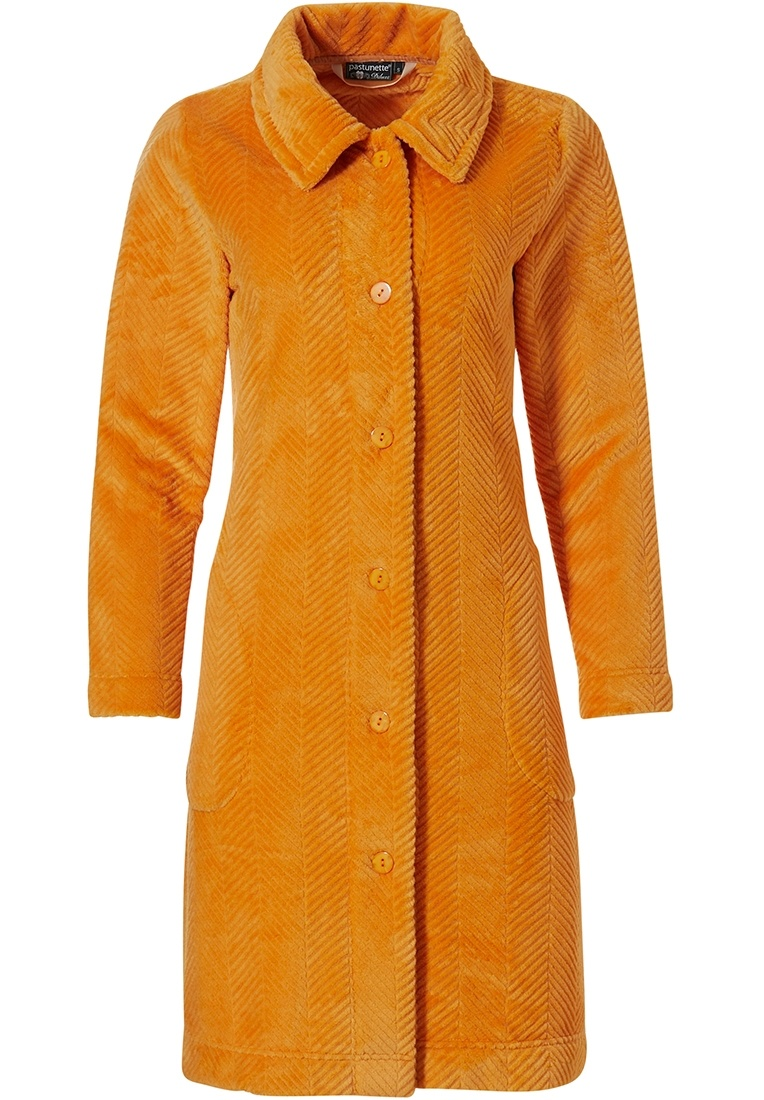 Pastunette Deluxe 'herringbone lines' orange ochre soft embossed fleece full button house coat with full buttons, collar and two pockets