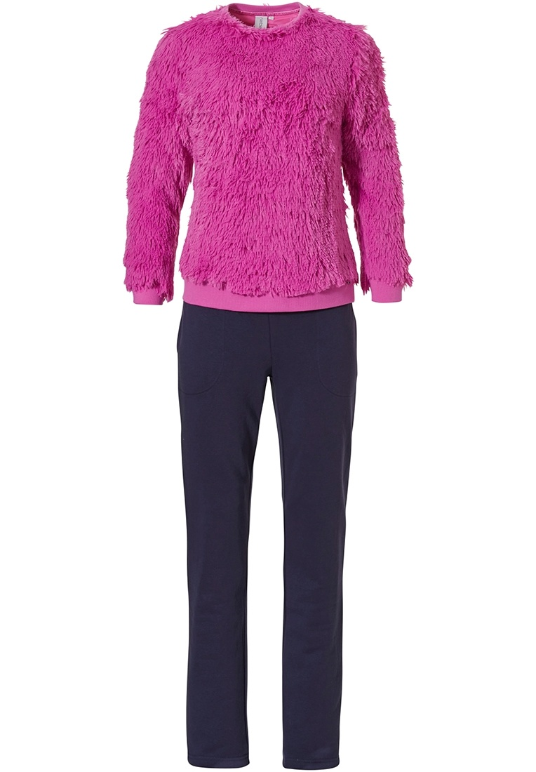 Rebelle 'fluffy fuscia' dark blue & pink fuscia trendy home lounge suit with soft & fluffy feel fleece jumper and long comfy pants