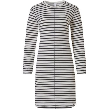 Rebelle 'trendy lines' ivory & dark grey long sleeve nightdress with in fashion 'trendy lines' design
