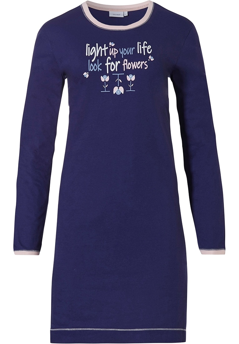 Pastunette 'pretty dutch flowers' dark blue & pink long sleeve ladies cotton nightdress with 'pretty dutch flowers' picture on the front and sweet 'light up your life with flowers' text
