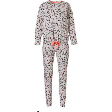 Rebelle 'hidden graffiti love hearts ♥' lichtgrijs, oranje & donkergrijs 98% katoenen pyjama met cool 'hidden graffiti love hearts ♥' patroon en lange broek met boorden