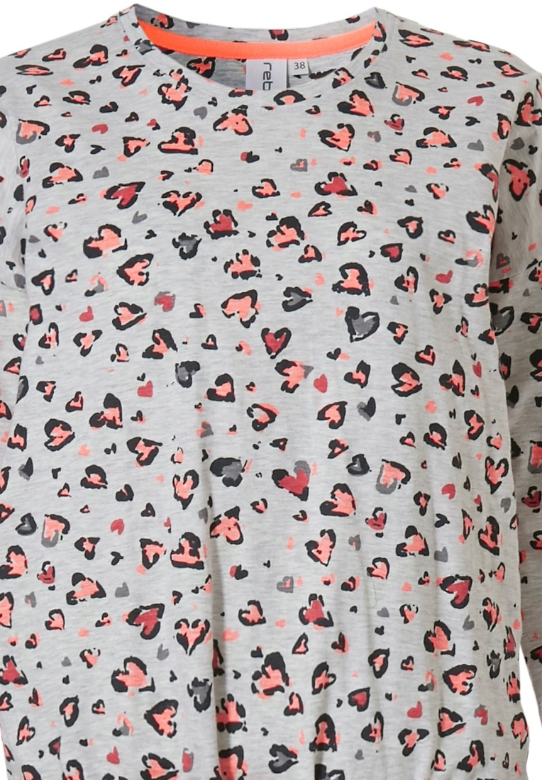 Rebelle 'hidden graffiti love hearts ♥' lightgrey, orange & dark grey 98% cotton pyjama with cool 'hidden graffiti love hearts ♥' pattern and long matching cuffed pants