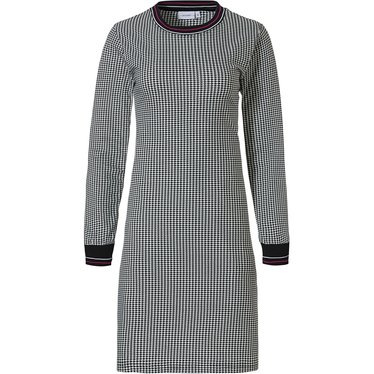 Pastunette 'monochrome fashion' black, white & red long sleeve cotton nightdress with ribbed neckline and cuffs