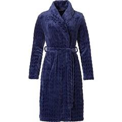 Pastunette donkerblauwe, embossed fleece overslag badjas 'dewdrop petals'